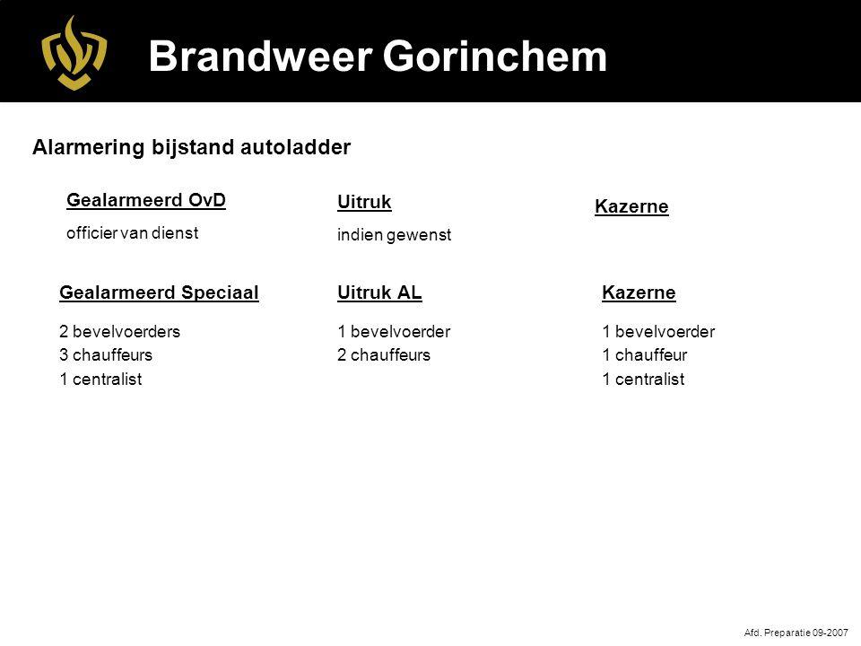 Brandweer Gorinchem Alarmering bijstand autoladder Gealarmeerd OvD