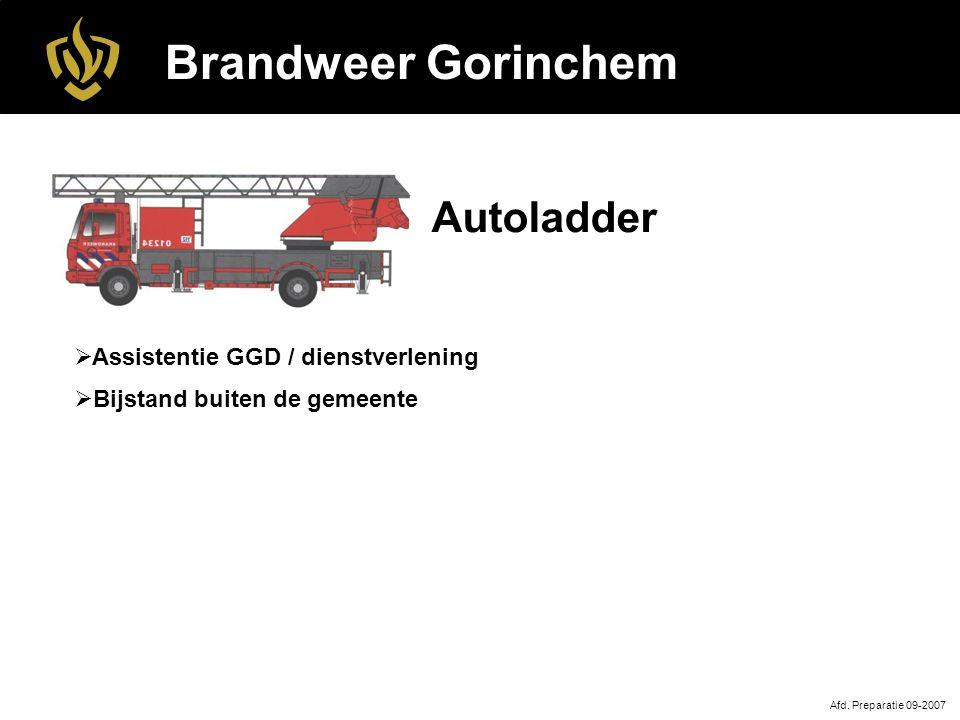 Brandweer Gorinchem Autoladder Assistentie GGD / dienstverlening