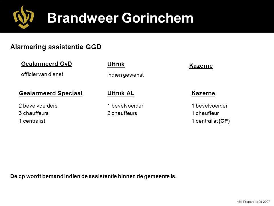 Brandweer Gorinchem Alarmering assistentie GGD Gealarmeerd OvD Kazerne