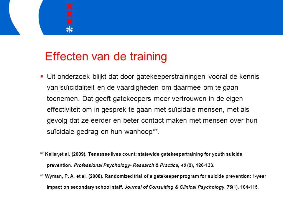 Effecten van de training