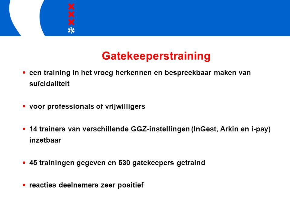 Gatekeeperstraining een training in het vroeg herkennen en bespreekbaar maken van suïcidaliteit. voor professionals of vrijwilligers.