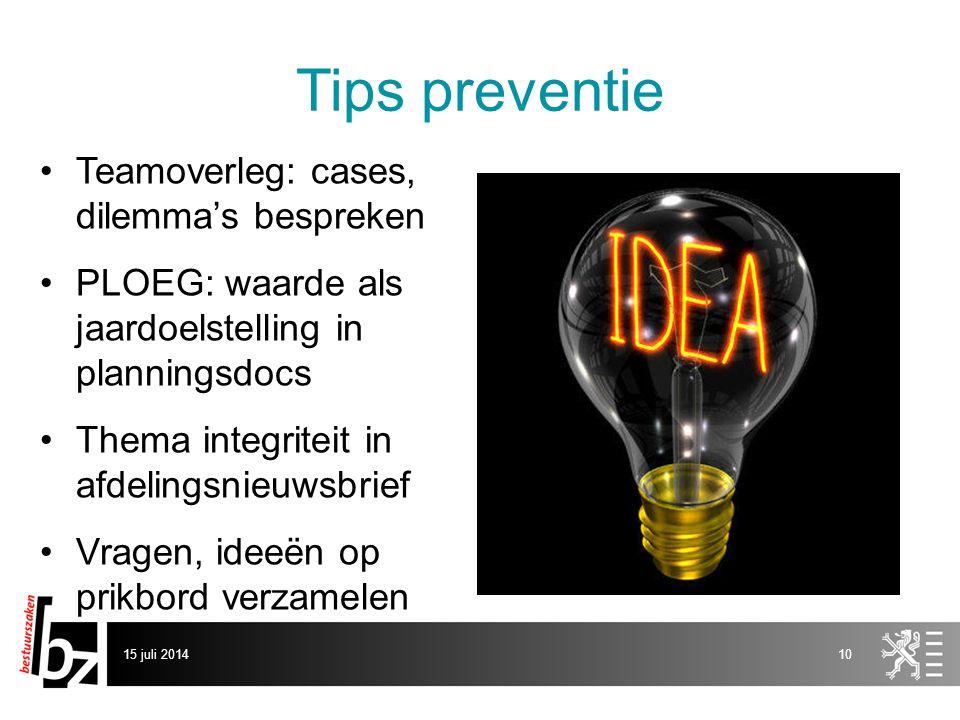 Tips preventie Teamoverleg: cases, dilemma's bespreken