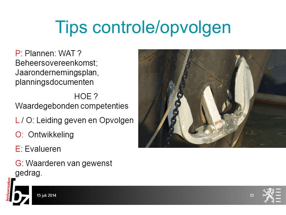 Tips controle/opvolgen