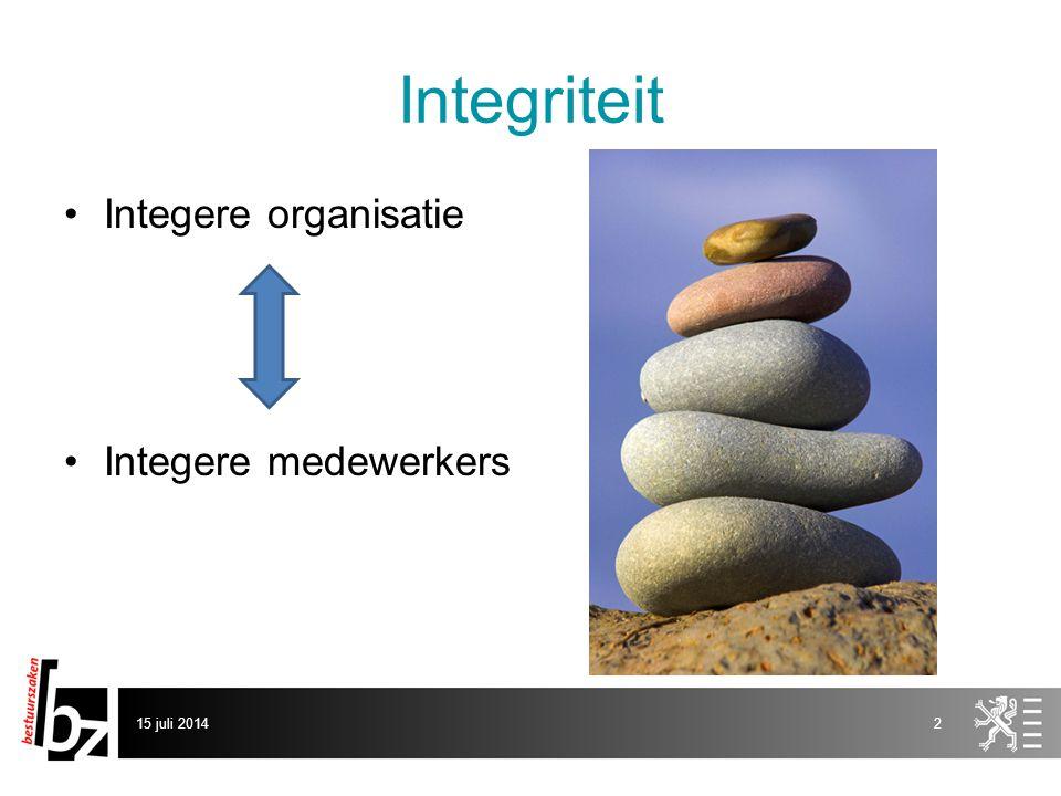 Integriteit Integere organisatie Integere medewerkers