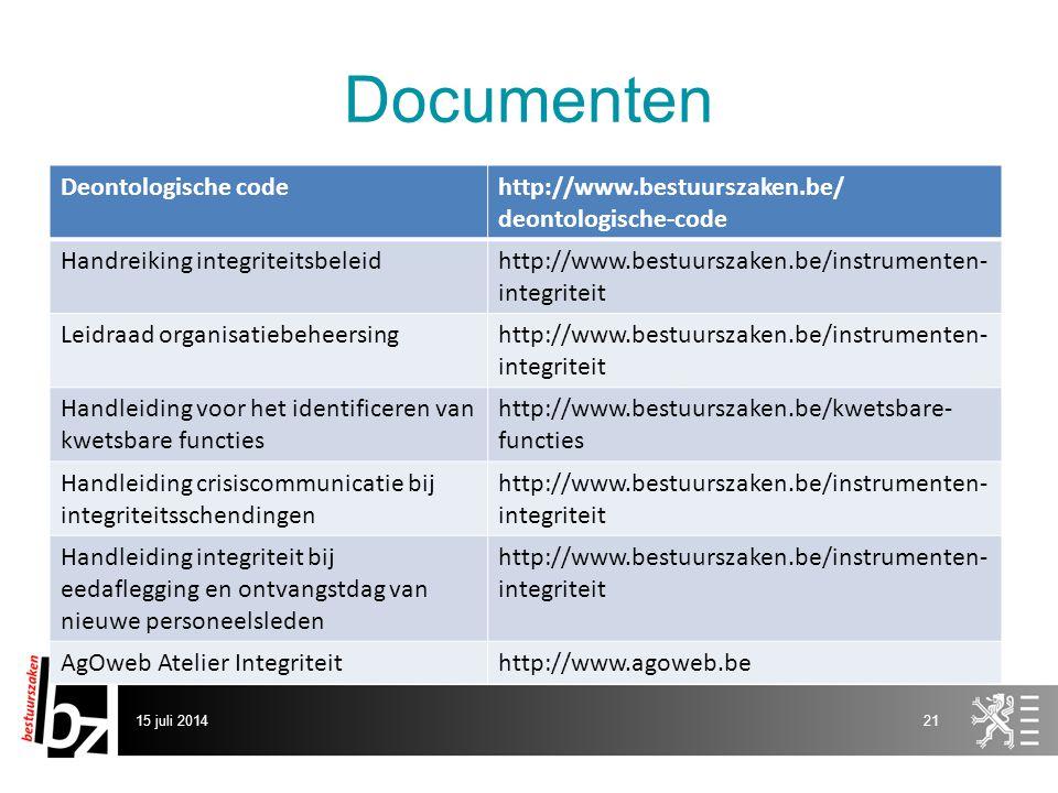 Documenten Deontologische code http://www.bestuurszaken.be/