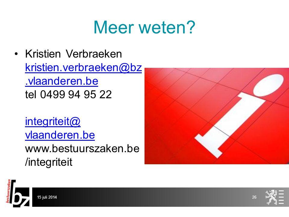 Meer weten Kristien Verbraeken kristien.verbraeken@bz.vlaanderen.be tel 0499 94 95 22 integriteit@ vlaanderen.be www.bestuurszaken.be/integriteit.