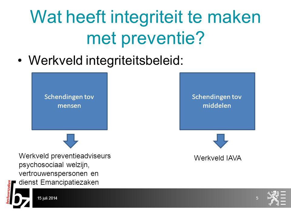 Wat heeft integriteit te maken met preventie