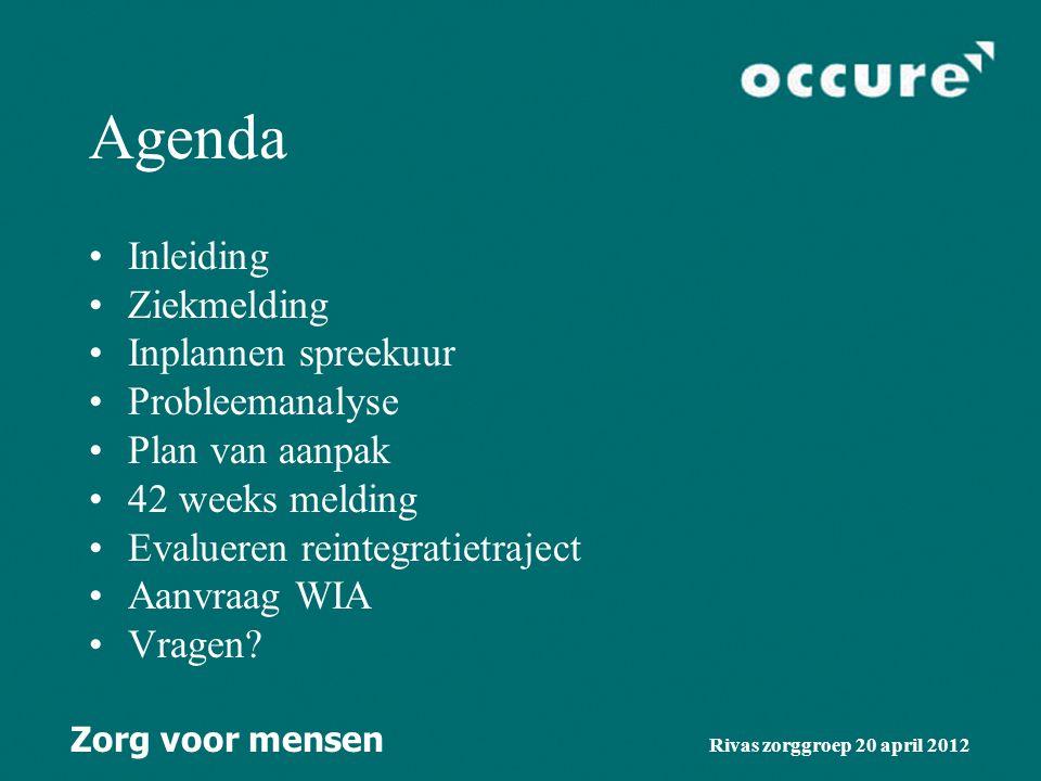 Agenda Inleiding Ziekmelding Inplannen spreekuur Probleemanalyse