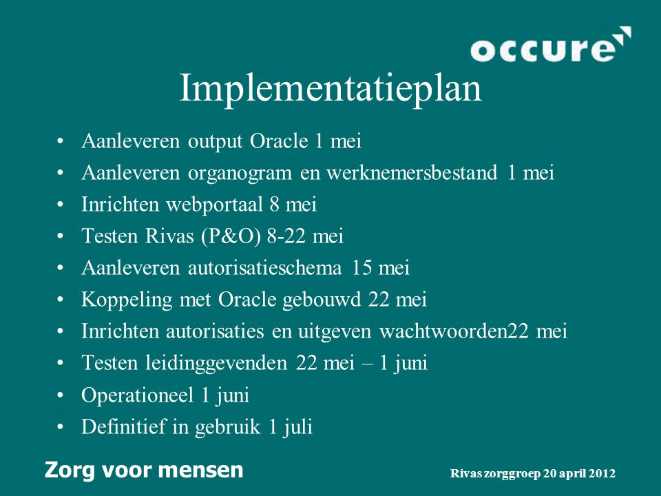 Implementatieplan Aanleveren output Oracle 1 mei