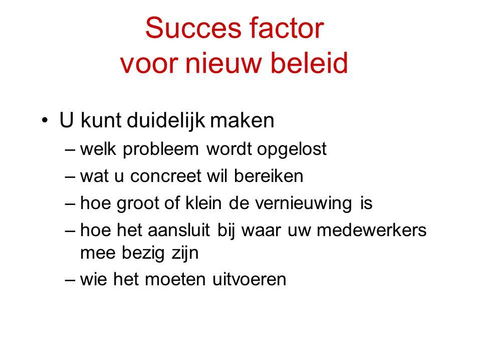Succes factor voor nieuw beleid