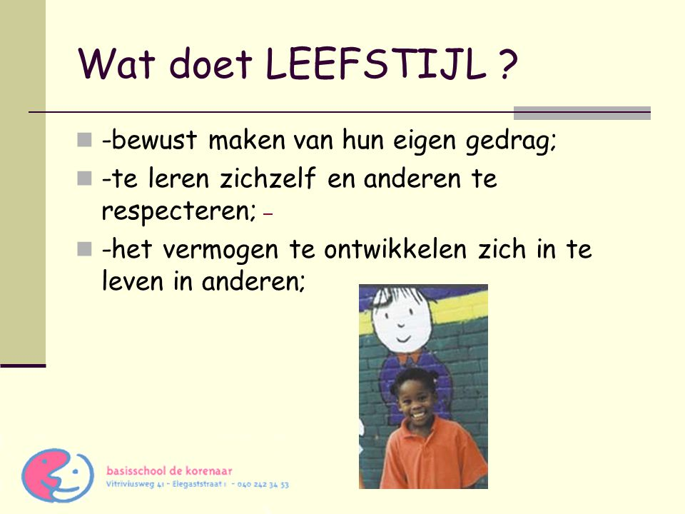 Wat doet LEEFSTIJL -bewust maken van hun eigen gedrag;