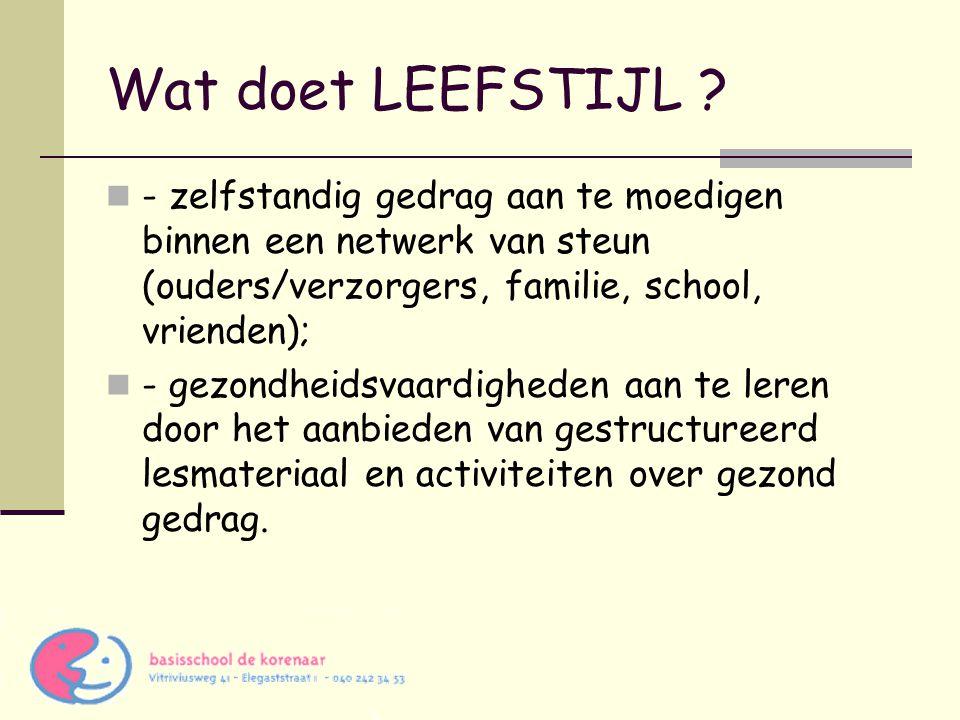 Wat doet LEEFSTIJL - zelfstandig gedrag aan te moedigen binnen een netwerk van steun (ouders/verzorgers, familie, school, vrienden);