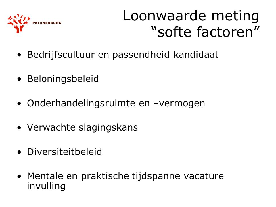 Loonwaarde meting softe factoren