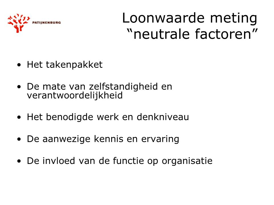 Loonwaarde meting neutrale factoren