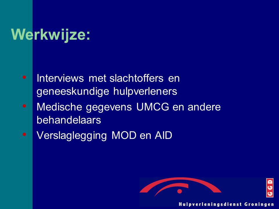 Werkwijze: Interviews met slachtoffers en geneeskundige hulpverleners