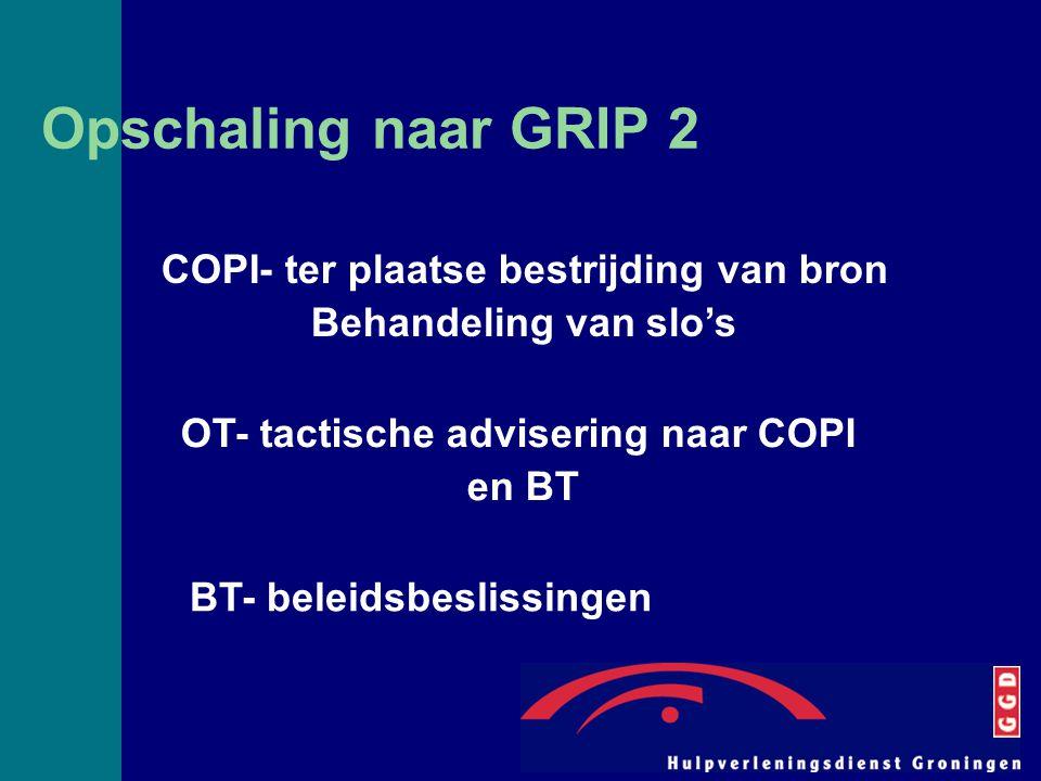 Opschaling naar GRIP 2 COPI- ter plaatse bestrijding van bron