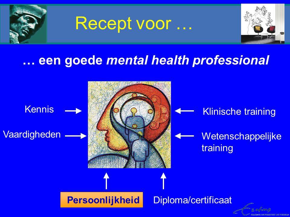 Recept voor … … een goede mental health professional Kennis