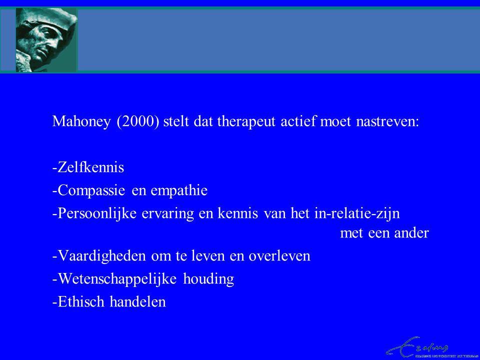 Mahoney (2000) stelt dat therapeut actief moet nastreven: Zelfkennis