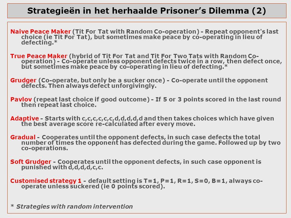 Strategieën in het herhaalde Prisoner's Dilemma (2)