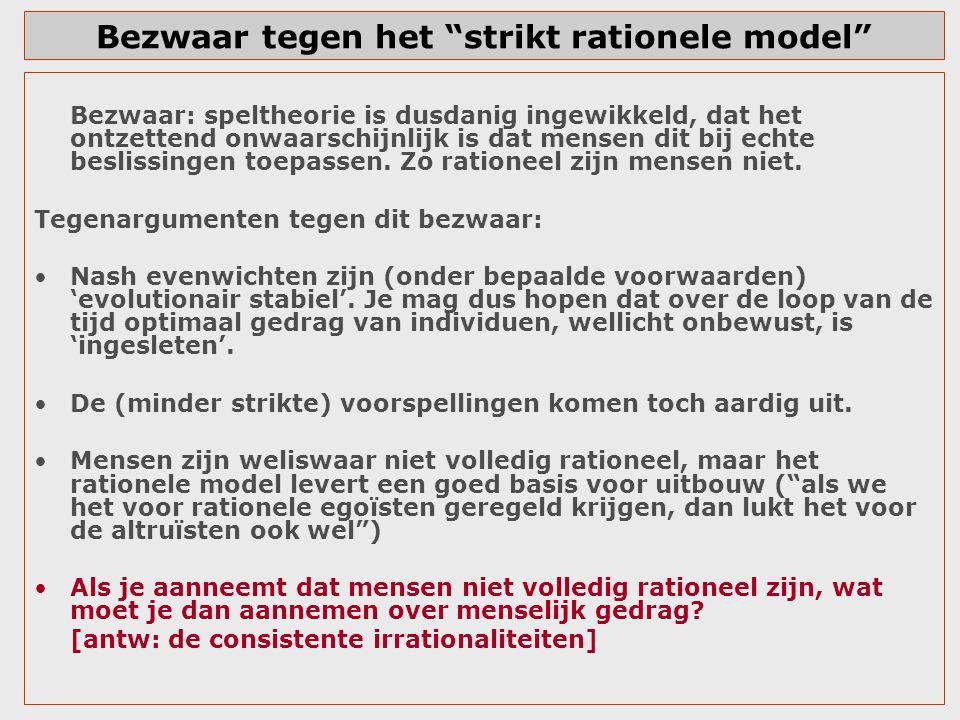 Bezwaar tegen het strikt rationele model