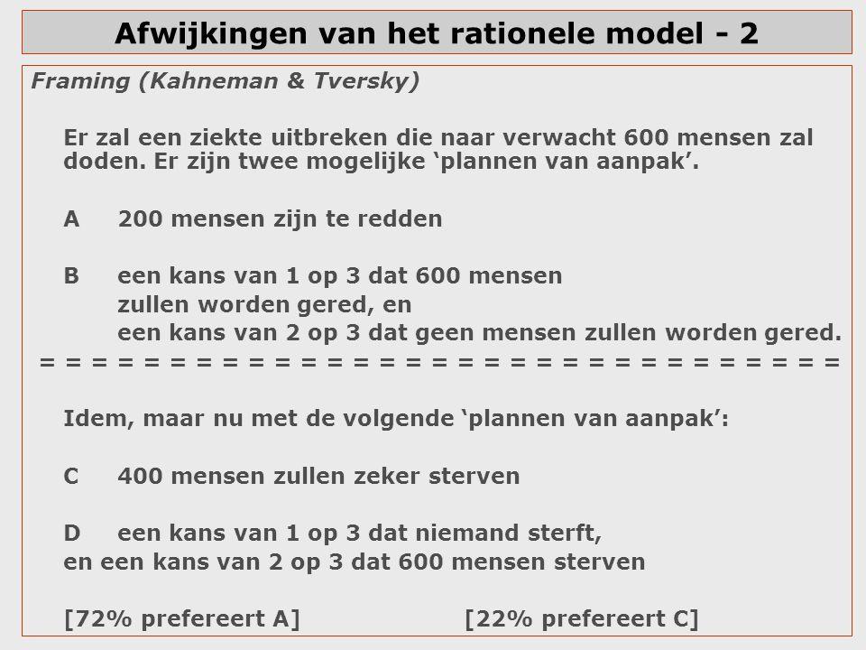 Afwijkingen van het rationele model - 2