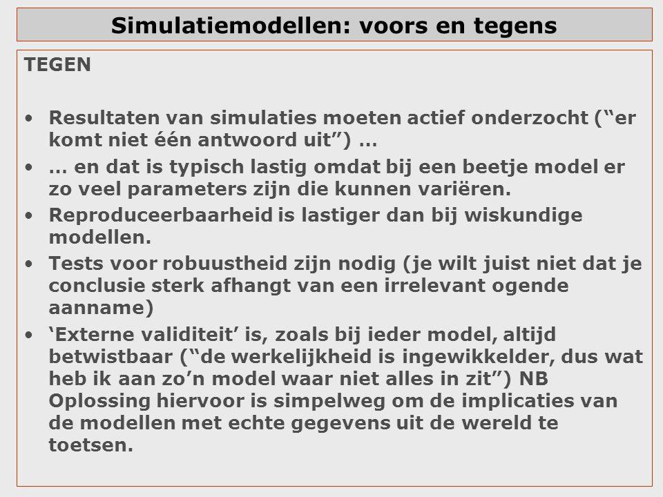 Simulatiemodellen: voors en tegens