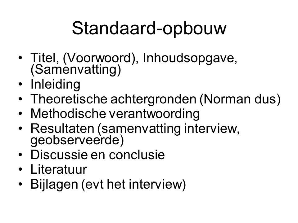 Standaard-opbouw Titel, (Voorwoord), Inhoudsopgave, (Samenvatting)