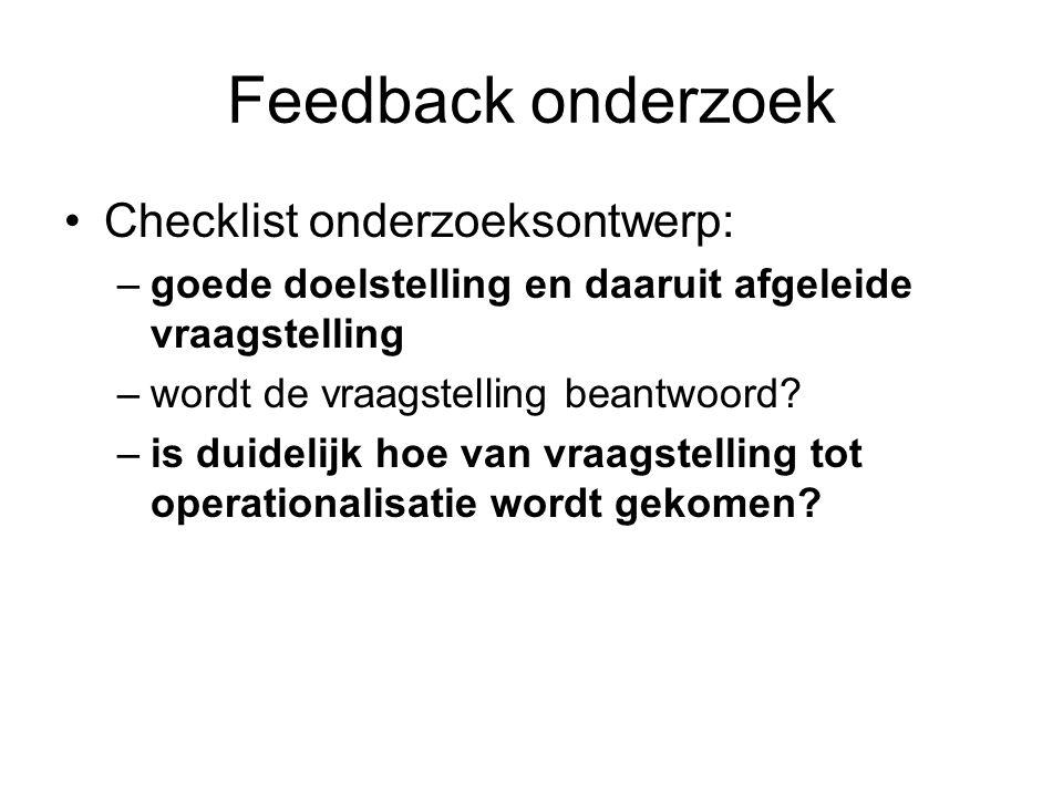 Feedback onderzoek Checklist onderzoeksontwerp: