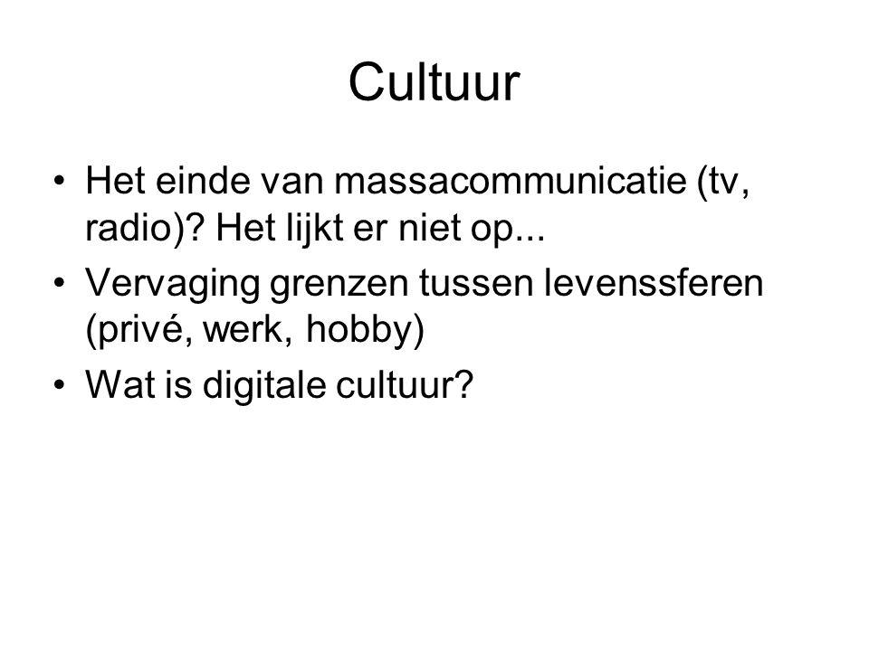Cultuur Het einde van massacommunicatie (tv, radio) Het lijkt er niet op... Vervaging grenzen tussen levenssferen (privé, werk, hobby)