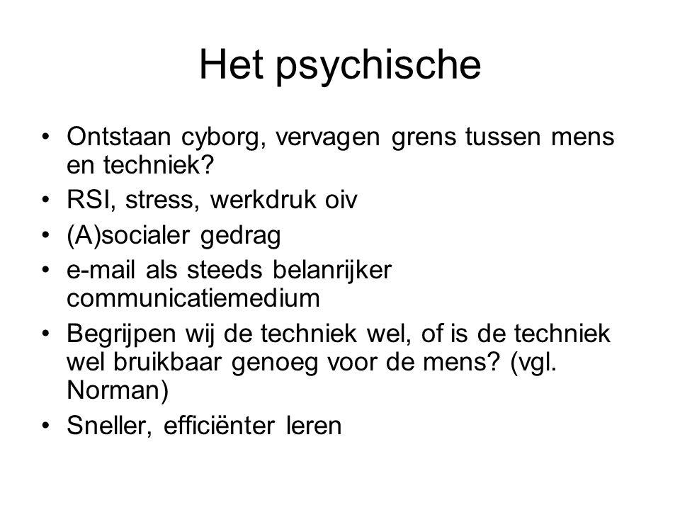 Het psychische Ontstaan cyborg, vervagen grens tussen mens en techniek RSI, stress, werkdruk oiv.