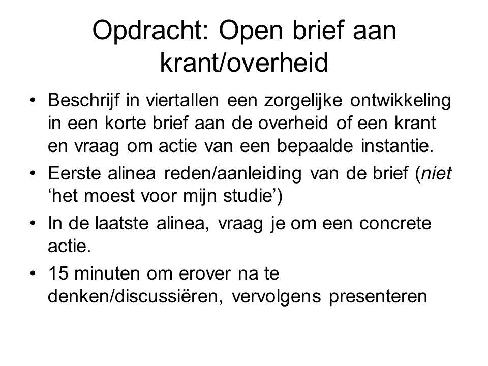 Opdracht: Open brief aan krant/overheid