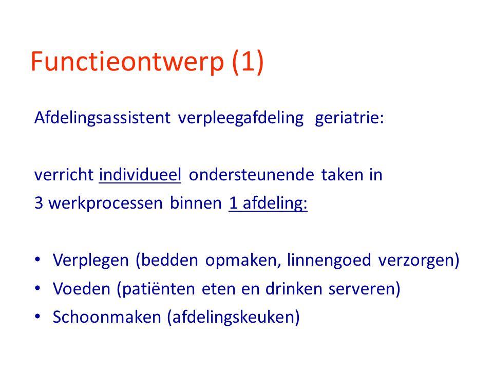 Functieontwerp (1) Afdelingsassistent verpleegafdeling geriatrie: