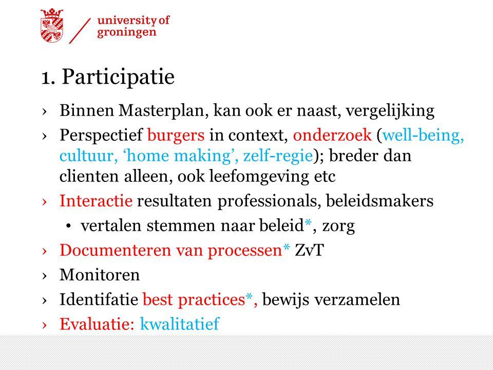 1. Participatie Binnen Masterplan, kan ook er naast, vergelijking