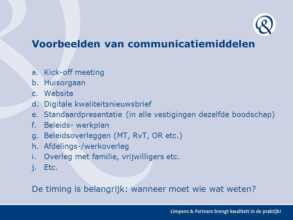 Voorbeelden van communicatiemiddelen