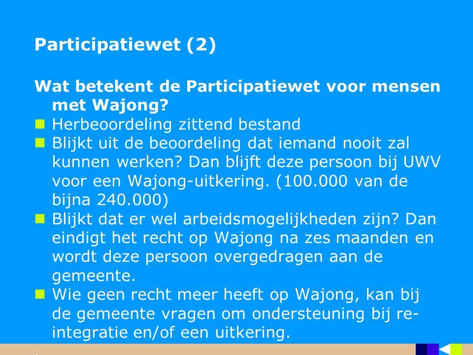 Participatiewet (2) Wat betekent de Participatiewet voor mensen met Wajong Herbeoordeling zittend bestand.