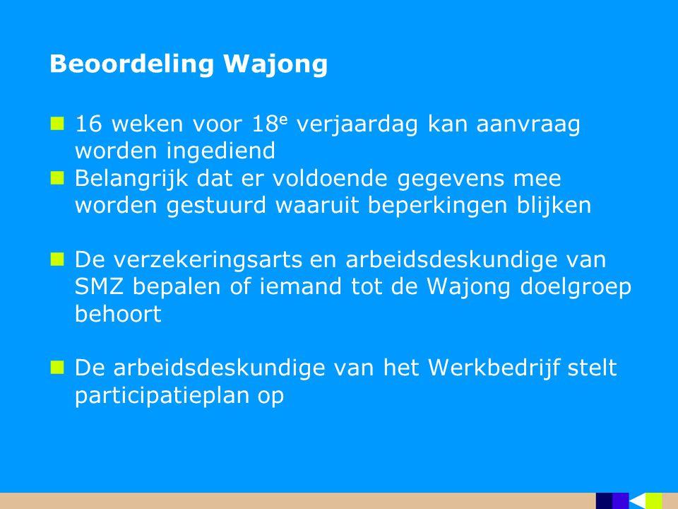 Beoordeling Wajong 16 weken voor 18e verjaardag kan aanvraag worden ingediend.