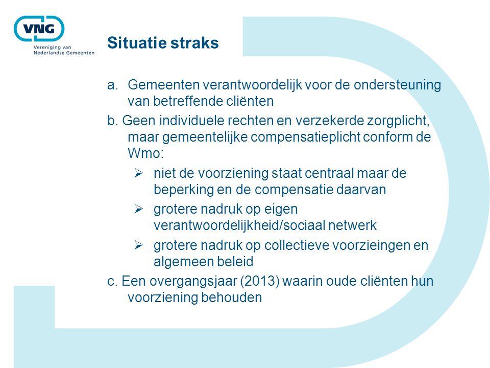 Situatie straks Gemeenten verantwoordelijk voor de ondersteuning van betreffende cliënten.