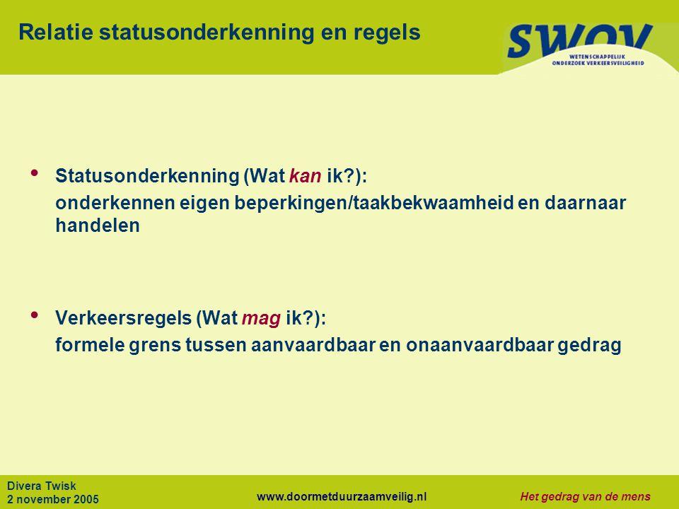 Relatie statusonderkenning en regels