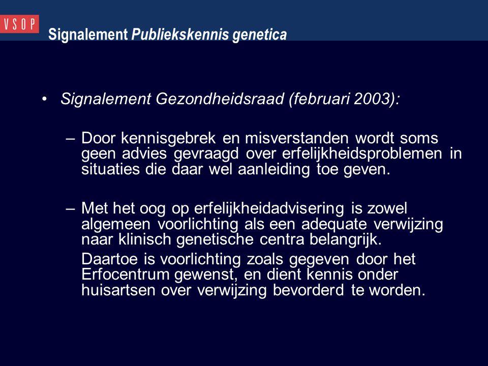 Signalement Publiekskennis genetica