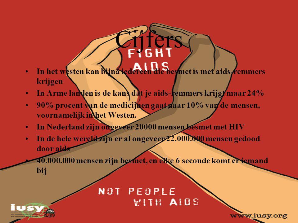 Cijfers In het westen kan bijna iedereen die besmet is met aids-remmers krijgen. In Arme landen is de kans dat je aids-remmers krijgt maar 24%
