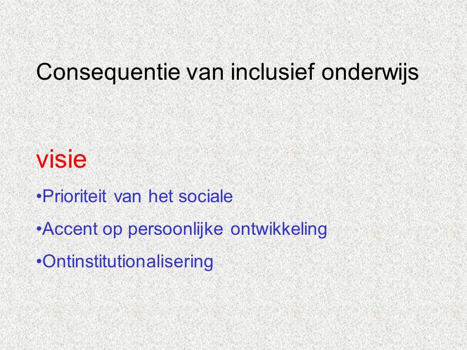 visie Consequentie van inclusief onderwijs Prioriteit van het sociale