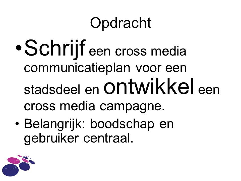 Opdracht Schrijf een cross media communicatieplan voor een stadsdeel en ontwikkel een cross media campagne.