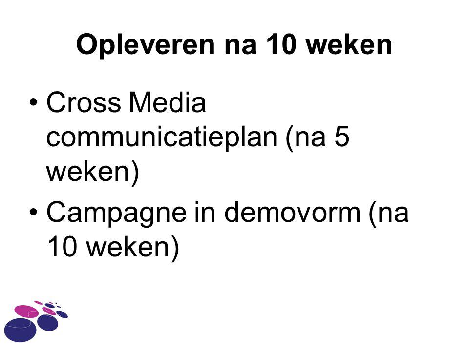 Opleveren na 10 weken Cross Media communicatieplan (na 5 weken) Campagne in demovorm (na 10 weken)