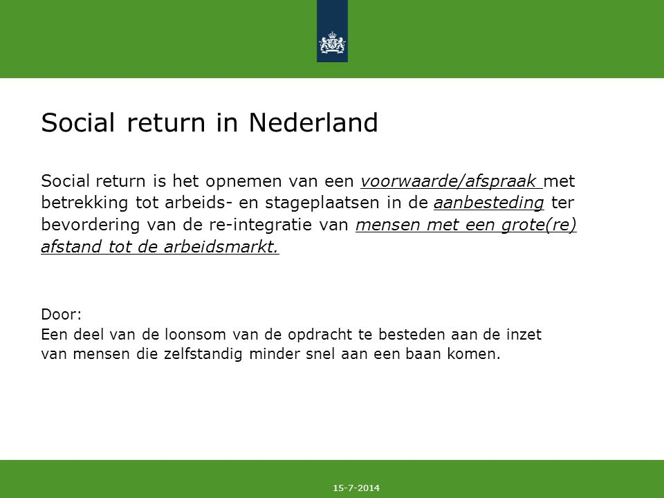 Social return in Nederland