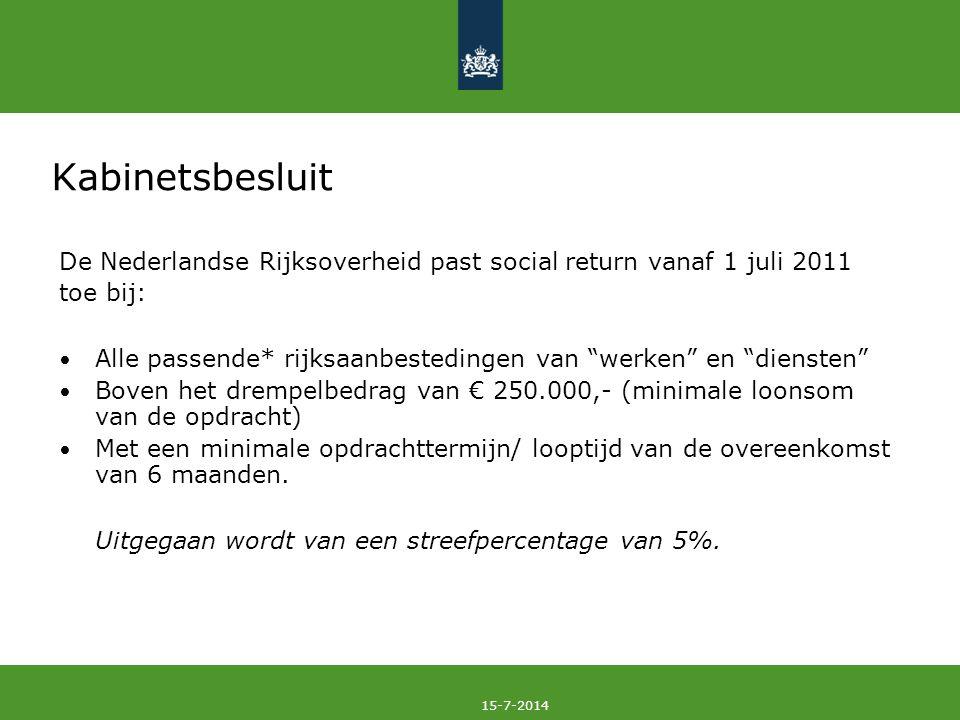 Kabinetsbesluit De Nederlandse Rijksoverheid past social return vanaf 1 juli 2011. toe bij: