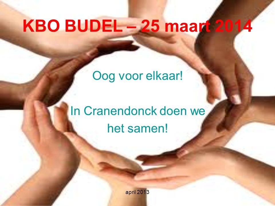 KBO BUDEL – 25 maart 2014 Oog voor elkaar! In Cranendonck doen we