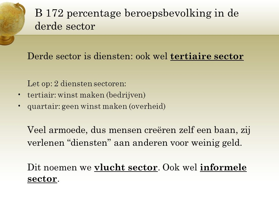 B 172 percentage beroepsbevolking in de derde sector