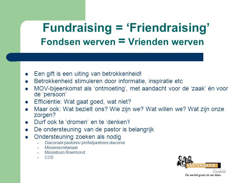 Fundraising = 'Friendraising' Fondsen werven = Vrienden werven
