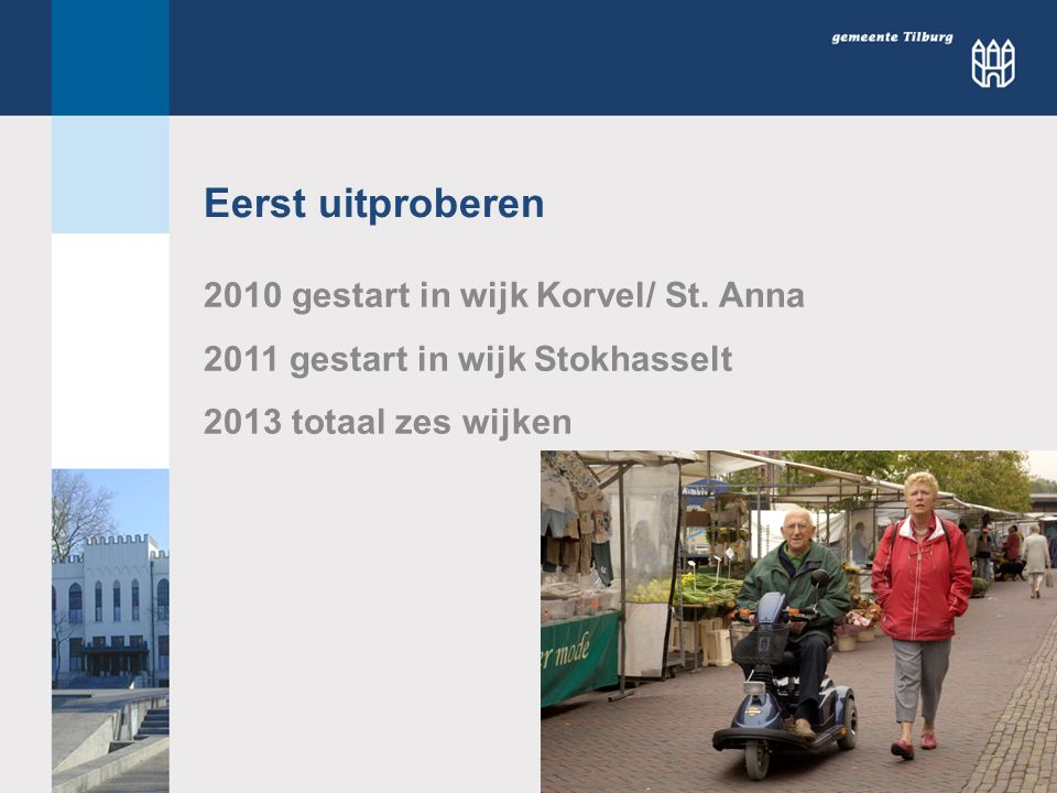 Eerst uitproberen 2010 gestart in wijk Korvel/ St. Anna