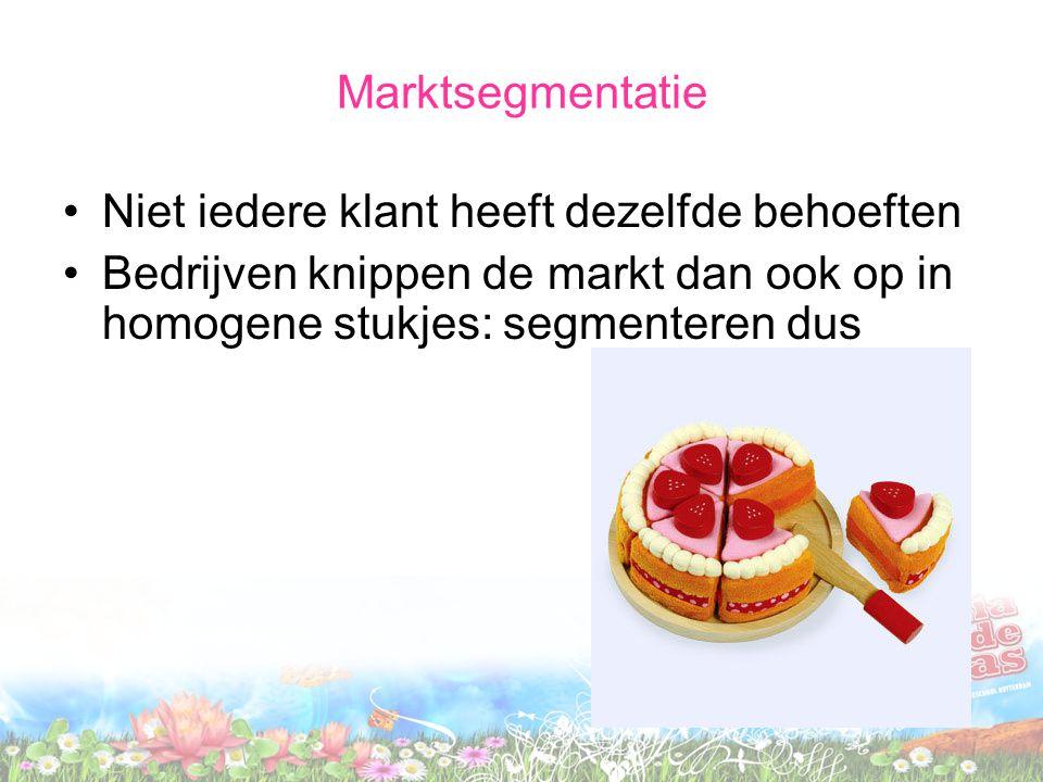 Marktsegmentatie Niet iedere klant heeft dezelfde behoeften.
